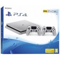 Sony Playstation 4 Slim 500Gb Silver + DualShock 4 (Version 2) (silver)