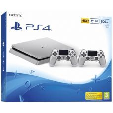 Sony Playstation 4 Slim 500Gb Silver + DualShock 4 (Version 2) (silver)