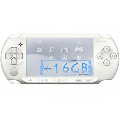 Sony PSP E1000 Street Ice White + Карта Памяти 16Gb + Чехол + Пленка + USB кабель + Игры