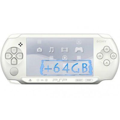 Sony PSP E1000 Street Ice White + Карта Памяти 64Gb + Чехол + Пленка + USB кабель + Игры