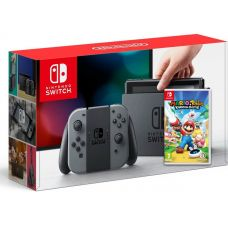 Nintendo Switch Gray + Игра Mario + Rabbids Kingdom Battle (русская версия)