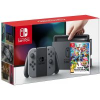 Nintendo Switch Gray + Игра Super Smash Bros. Ultimate (русская версия)