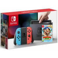 Nintendo Switch Neon Blue-Red + Игра Donkey Kong Country: Tropical Freeze