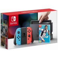 Nintendo Switch Neon Blue-Red + Игра FIFA 19 (русская версия)