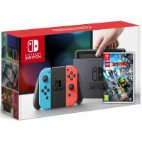 Nintendo Switch Neon Blue-Red + Игра Lego Ninjago Movie Video Game (русская версия)