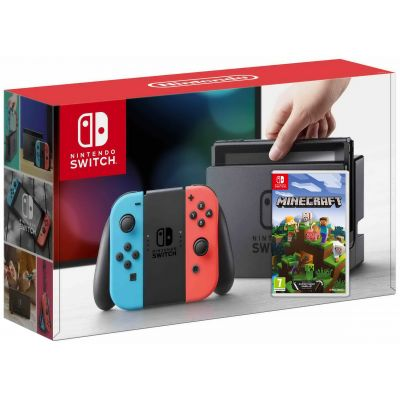 Nintendo Switch Neon Blue-Red + Игра Minecraft