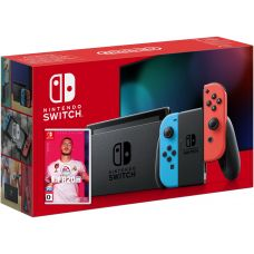 Nintendo Switch Neon Blue-Red (Upgraded version) + Игра FIFA 20 Legacy Edition (русская версия)