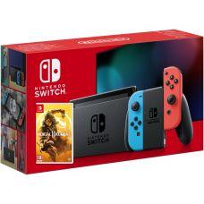 Nintendo Switch Neon Blue-Red (Upgraded version) + Игра Mortal Kombat 11 (русская версия)