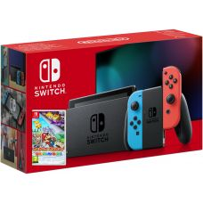 Nintendo Switch Neon Blue-Red (Upgraded version) + Игра Paper Mario: The Origami King