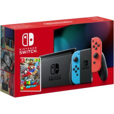 Nintendo Switch Neon Blue-Red (Upgraded version) + Игра Super Mario Odyssey (русская версия)