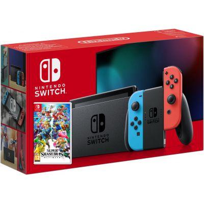 Nintendo Switch Neon Blue-Red (Upgraded version) + Игра Super Smash Bros. Ultimate (русская версия)