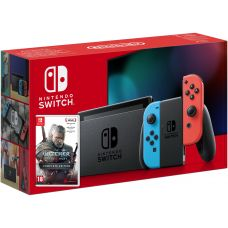 Nintendo Switch Neon Blue-Red (Upgraded version) + Игра The Witcher 3: Wild Hunt Complete Edition