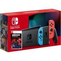 Nintendo Switch Neon Blue-Red (Upgraded version) + Игра Wolfenstein: Youngblood Deluxe Edition (ваучер на скачивание) (русская версия)