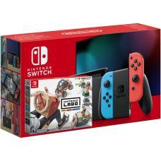 Nintendo Switch Neon Blue-Red (Upgraded version) + Nintendo Labo: Vehicle Kit