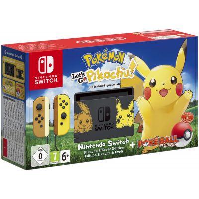 Nintendo Switch Pikachu & Eevee Limited Edition + Poké Ball Plus + Игра Pokémon: Let's Go, Pikachu!