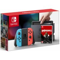Nintendo Switch Neon Blue-Red + Игра Wolfenstein II: The New Colossus (русская версия)
