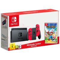 Nintendo Switch Red-Rouge + Игра Mario + Rabbids Kingdom Battle (русская версия)