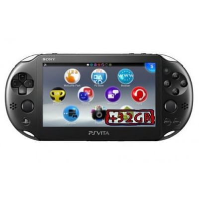 Sony PS Vita Slim 2000 Crystal Black Wi-Fi + Карта Памяти 32Gb + USB кабель + Мягкий Чехол