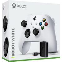 Microsoft Xbox Series X | S Wireless Controller with Bluetooth (Robot White) + Play & Charge kit for Xbox Series X and Xbox Series S