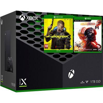 Microsoft Xbox Series X 1Tb + Cyberpunk 2077 (русская версия) + Star Wars: Squadrons (русская версия)