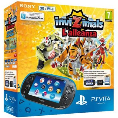 Sony PS Vita Crystal Black Wi-Fi + 3G + Карта Памяти 4Gb + Игра Invizimals The Alliance + USB кабель + Чехол