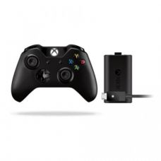 Microsoft Xbox One Wireless Controller (Black) + Play and Charge Kit