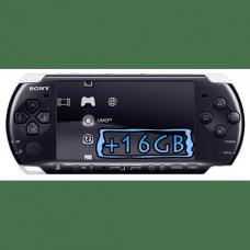 Sony PSP Slim 3000 Piano Black + Карта Памяти 16Gb + Чехол + Пленка + USB кабель + Игры