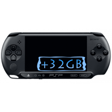 Sony PSP E1000 Street  Piano Black + Карта Памяти 32Gb + Чехол + Пленка + USB кабель + Игры