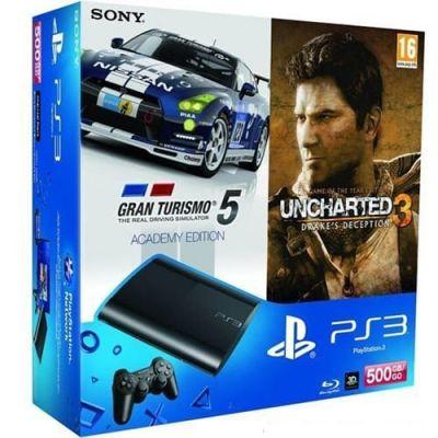 Sony PlayStation 3 Super Slim 500Gb   Игра Uncharted 3   Gran Turismo 5